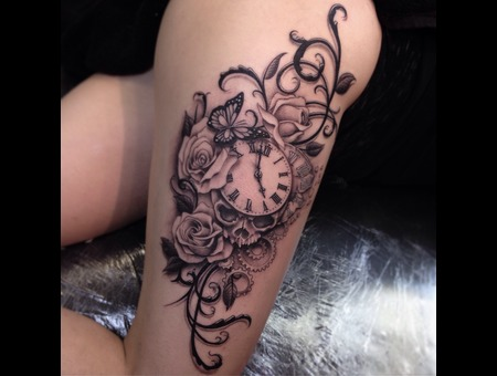 Rose   Butterfly  Skull Black Grey Thigh