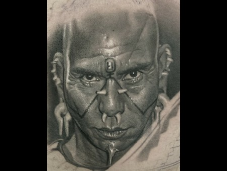 Black And Grey  Realism  Portrait  Apocalypto  Movie Charaster Black Grey Chest