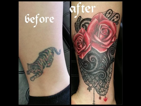 Roses  Cover Up Color Lower Leg