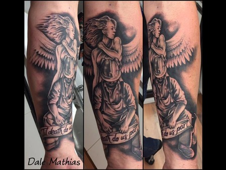 Angel  Miner  Realism  Black And Grey Black Grey Forearm