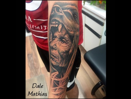 David Garcia  Indian  Chief  Bear  Realism  Portrait Black Grey Arm
