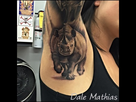 Armpit  Rhino  Africa  Realism  Black And Grey  Animal  Bad Ass Black Grey Arm