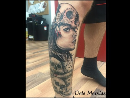 Realism  Portrait  Skulls  Leg Sleeve  Wip Black Grey Lower Leg