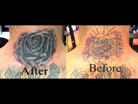 Cover Up  Neck Tattoo  Rose  Flower Black White