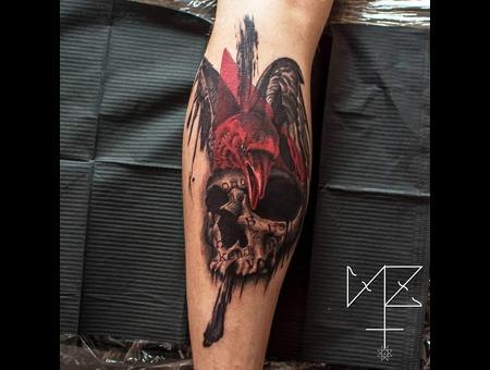 Skull Crow Color Lower Leg