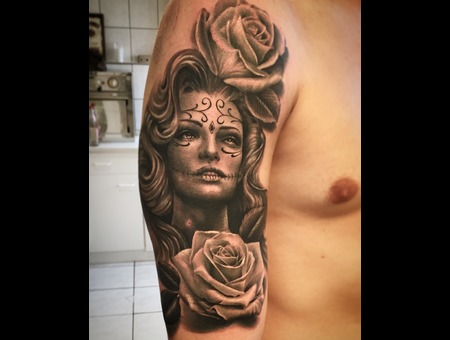 Woman  Portrait  Black And Grey  Realistic  Rose Arm