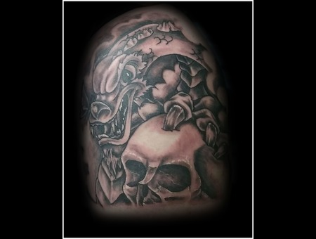 Dragon  Skull  Clouds  Shading   Black Grey Arm