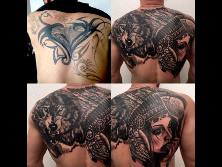 #Coveruptattoo #Wolf #Indian  Black Grey Back
