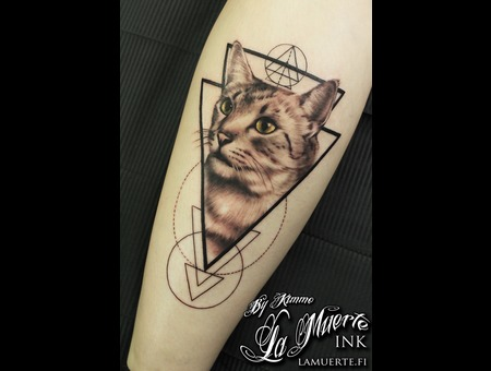 Cat  Geometry  Occult  Realistic  Realism  Portrait  Blackwork  Minimalism Black Grey Lower Leg