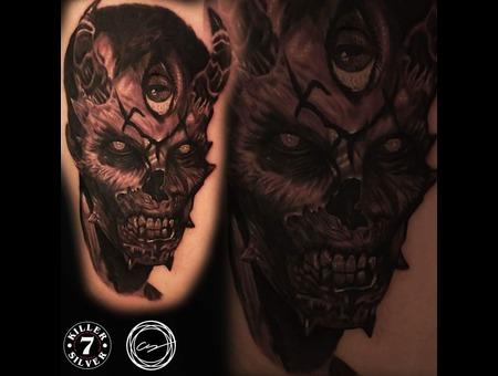 Devil Evil Black Grey Thigh