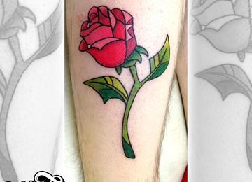 Neo traditional, rose, colour
