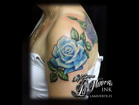 Rose Tattoo Color Shoulder