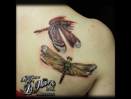 Dragonflies Tattoo Color Back