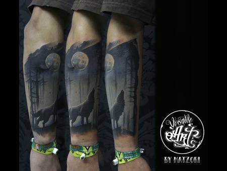 Wolf  Night  Moon  Twilight  Colortattoo Color Forearm