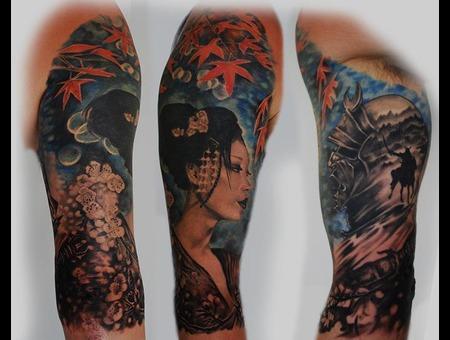 Japanese Geisha Samuri Color Arm