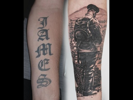 Coverup Soldier Memorial Black Grey Forearm