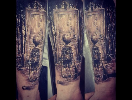 Boy Child Toy Bear Forest Mystic Aleksanderkuchumov84 Realism Black Grey Forearm
