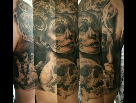 Diadelosmuertos Aleksanderkuchumov84 Black Grey Arm