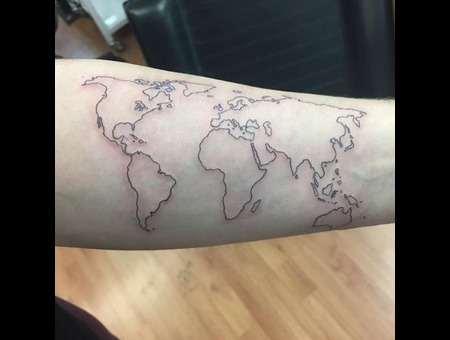 World  Outline  Black  Grey  Minimalist  Linework Black Grey Forearm