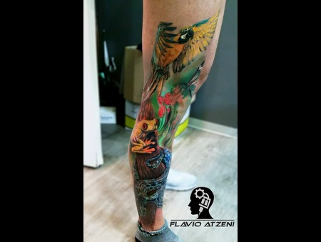 Realistic  Jungle  Realistictattoo  Nature  Parrot  Dragonfly   Color Lower Leg
