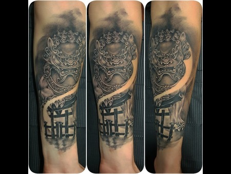 Foo Dog  Japanese Black Grey Forearm