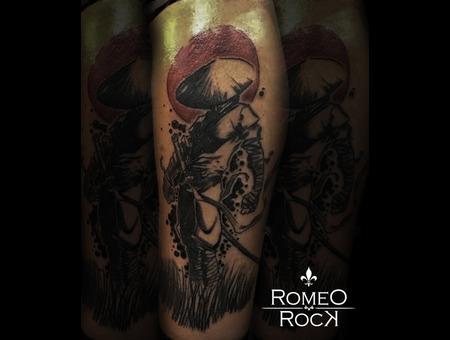 Tattoo  China  Japan  Black Grey Lower Leg