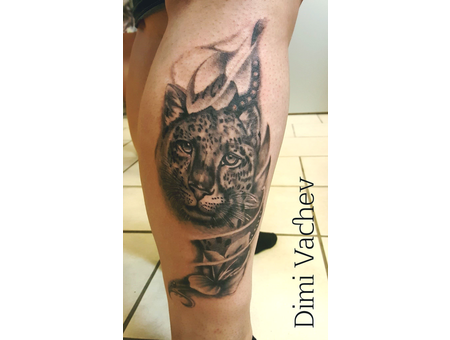 Tiger Tattoo Black Grey Lower Leg