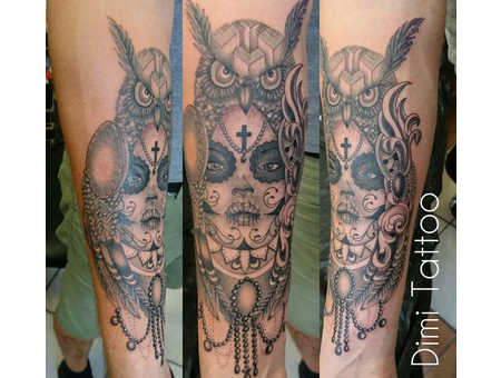 La Catrina Tattoo Black Grey Forearm