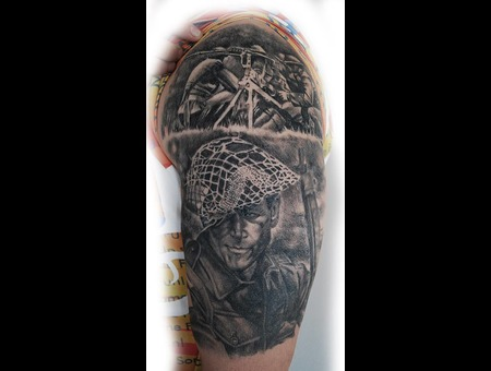 War Piece Realistic Black Grey Arm
