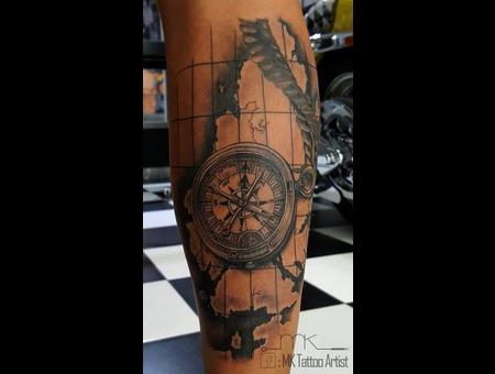 Tattoo  Compass  Map Black Grey Lower Leg