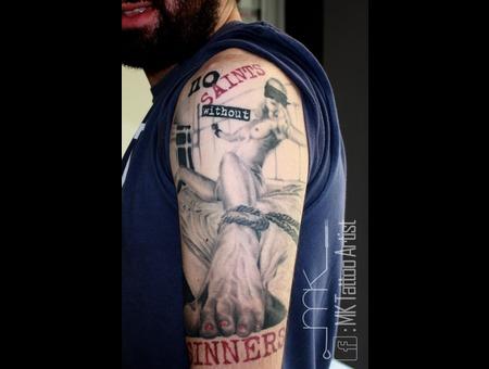 Realistic  Trash Polka  Tattoo  Angels  Sinners  Bondage  Woman Black Grey Arm