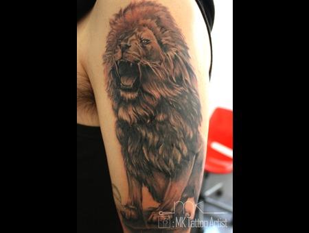 Realistic  Tattoo  Lion  King Black Grey Arm