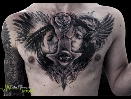 Black And Grey  Realistic  Eye  Feathers  Girls  Faces  Trash  Moon  Arrow Black Grey Chest