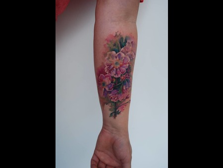 Watercolour Flowers Color Forearm