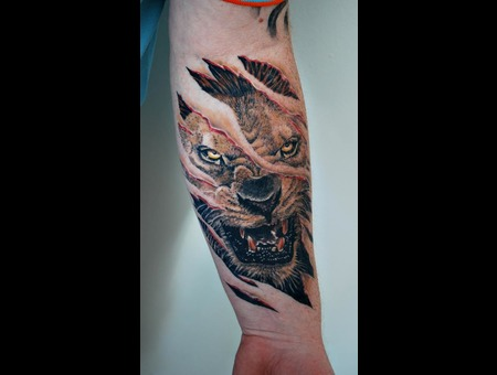 Ripped Skin  Lion Color Forearm