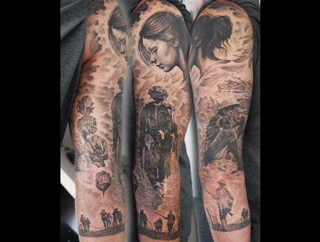 War Rememberance Sleeve Angel Black Grey Arm