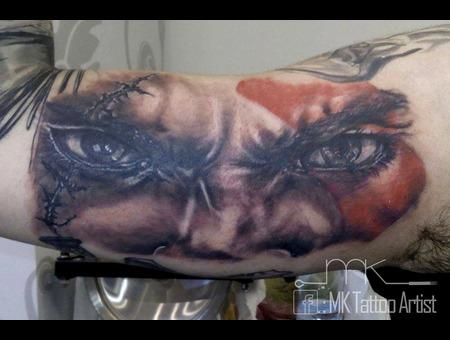 Realistic  Tattoo  Kratos  God Of War  Eyes Color Arm