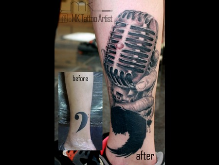 Realistic  Tattoo  Cover Up  Vintage Microphone  Music Black Grey Lower Leg