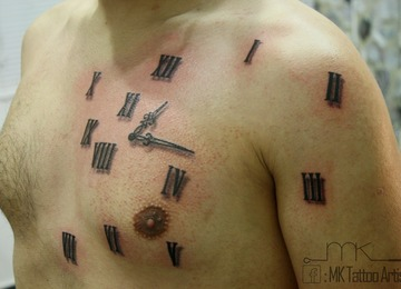 abstract, clock, tattoo, roman numbers