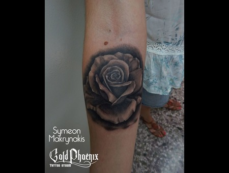 Rose  Realistic Rose  Black And Grey Rose Black Grey Forearm