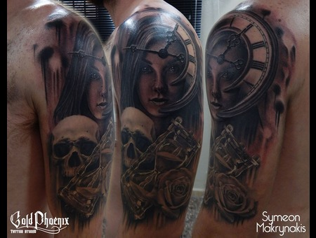 Surrealism  Half Sleeve  Skull  Hour Glass  Portrait  Woman  Clock  Rose Black Grey Arm