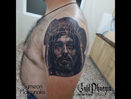 Jesus  Portrait  Religious Black Grey Shoulder