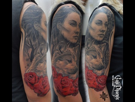 Portrait  Wolf  Woman  Roses  Half Sleeve Black Grey Arm