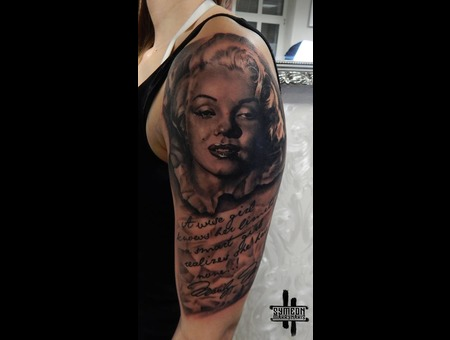 Half Sleeve  Marilyn Monroe  Portrait  Writings Black Grey Arm