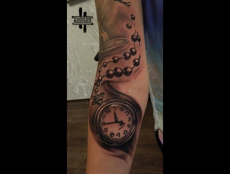 Clock  Realistic  Pocket Watch Black Grey Forearm