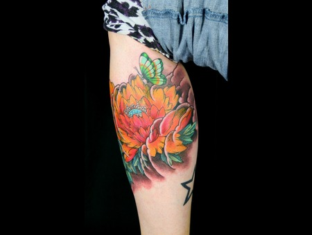 Flower Color Tattoo Leg  Color