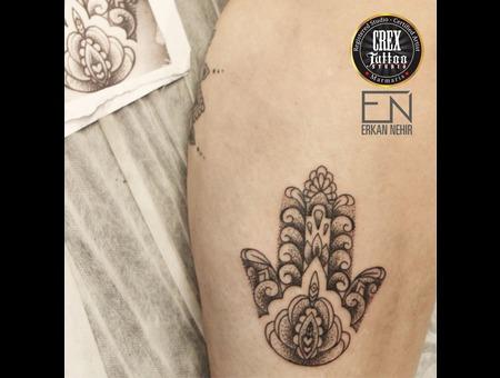 Hamsa  Mandala  Erkan  Nehir  Tattoo  Artist  Dövmeci  Marmaris  Turkey Black Grey Lower Leg