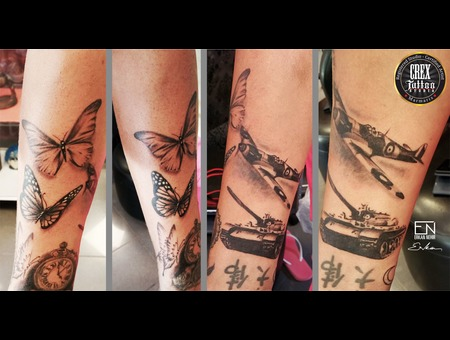 Erkan  War  Plane  Nehir  Tattoo  Artist  Dövmeci  Marmaris  Turkey Black Grey Arm