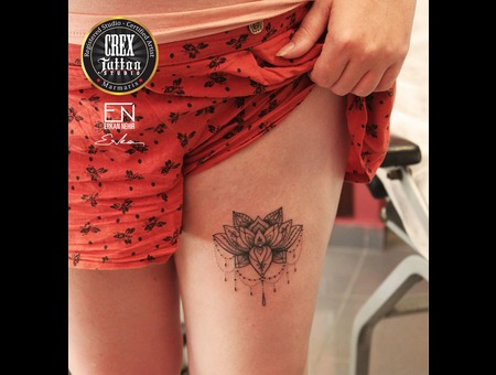 Mandala  Lace  Erkan  Nehir  Tattoo  Artist  Dövmeci  Marmaris  Turkey Black Grey Thigh