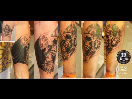 Skull  Dragon  Erkan  Nehir  Tattoo  Artist  Dövmeci  Marmaris  Turkey Black Grey Arm
